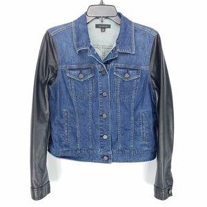 Ann Taylor Faux Leather Sleeve Denim Jacket